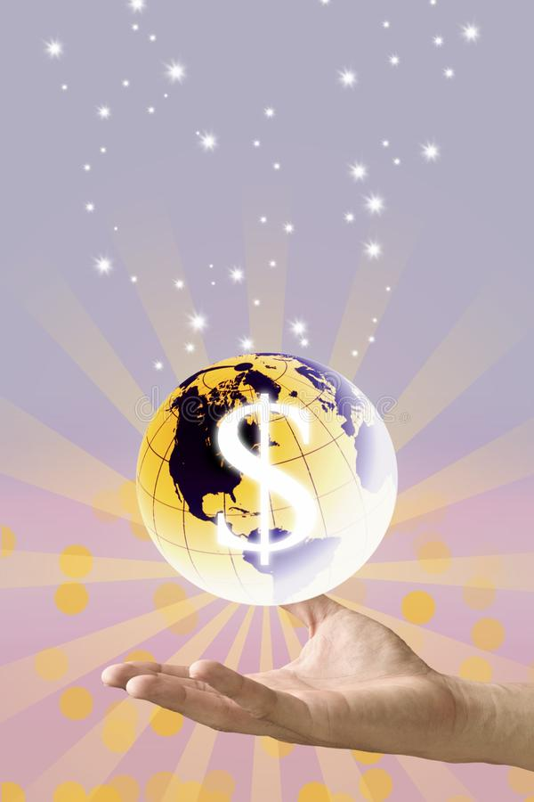Save the world with money concept. Hand carry the earth with dollor icon with sunshine graphic background royalty free stock images