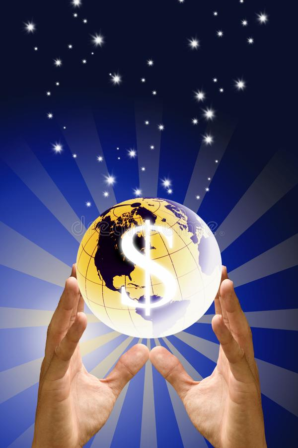 Save the world with money concept, Hand carry the earth with dollor icon with sunshine graphic. Background stock photos