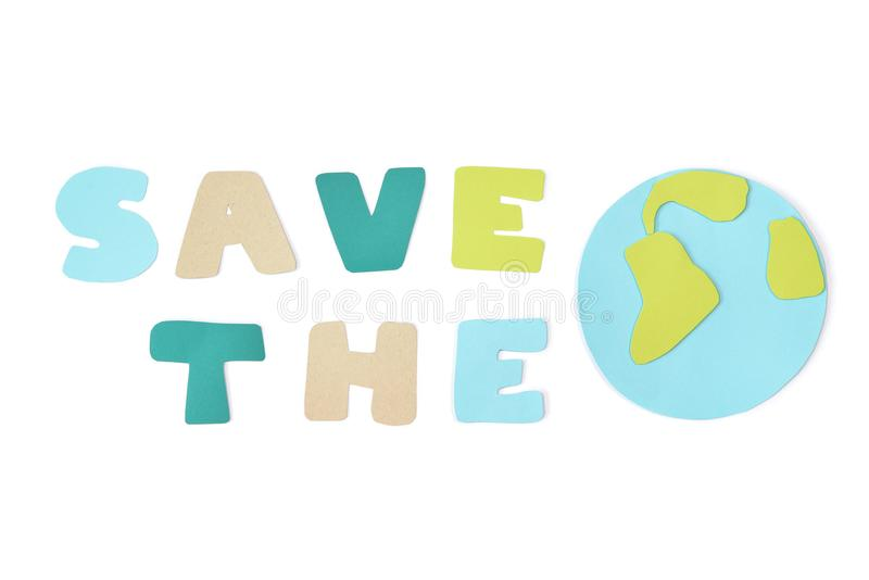 Save the world paper cut on white background royalty free stock photo