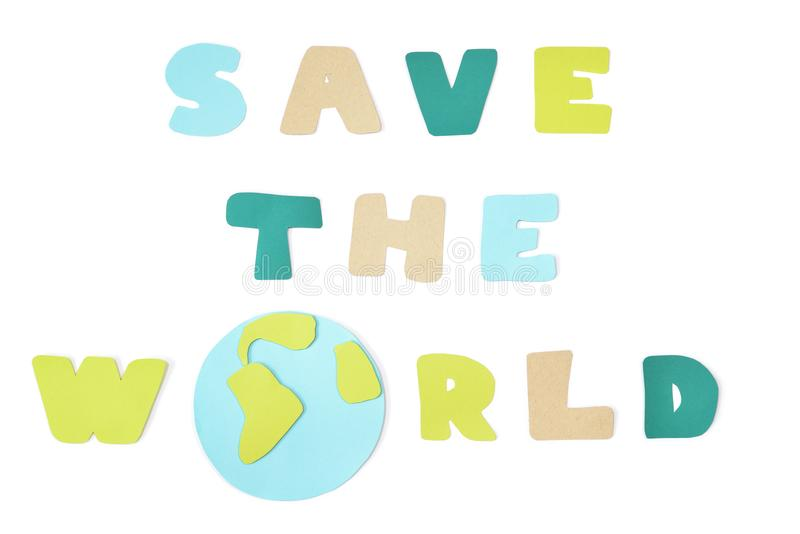 Save the world paper cut on white background stock image