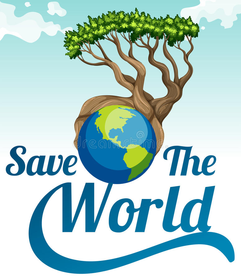 save the world poster with earth and tree stock vector illustration of clip  conservation Earth Clip Art Black and White Clip Art Earth Tree and Grass