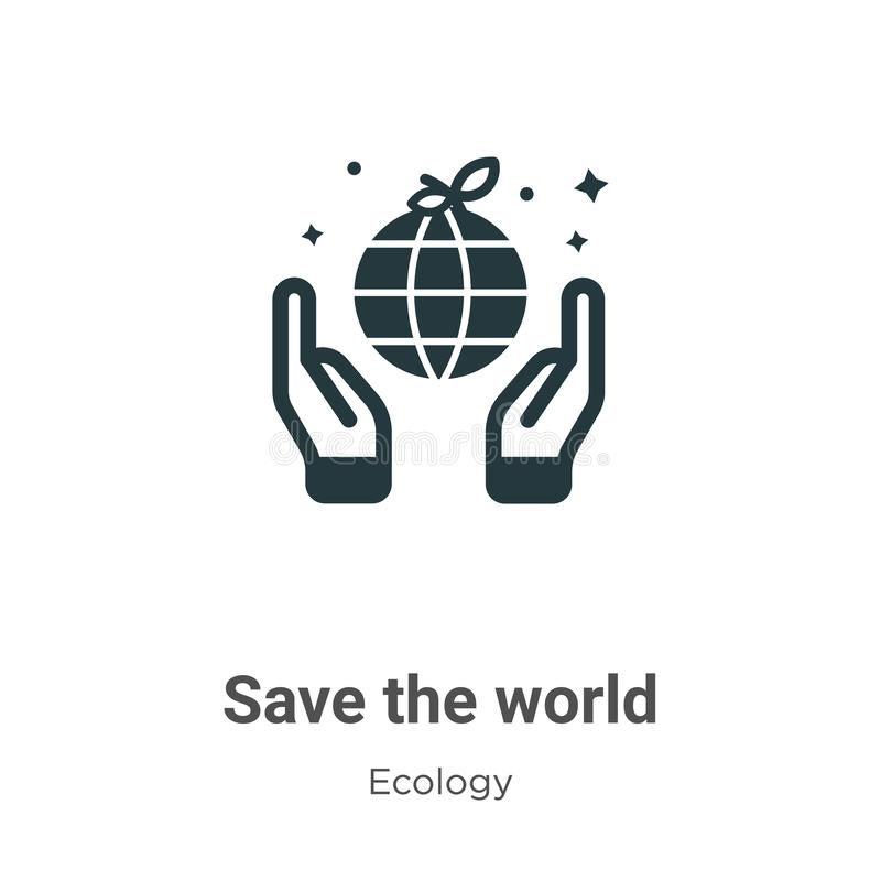 Save the world vector icon on white background. Flat vector save the world icon symbol sign from modern ecology collection for royalty free illustration