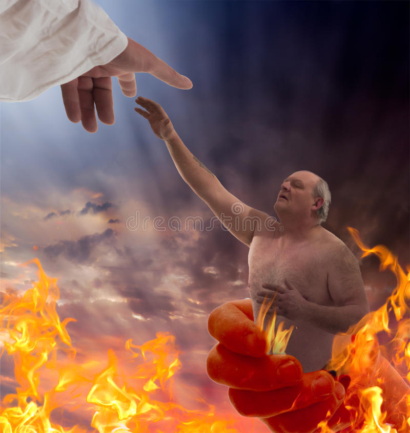 Saved. A man trapped in the evil of his prior life and caught in the hands of the devil is reborn and saved by the hand of God