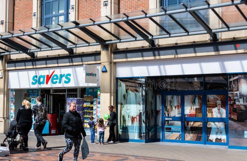 Savers Store Frontage. Swindon, United Kingdom - May 04 2019:   The Frontage of Savers Store on the Parade stock photos