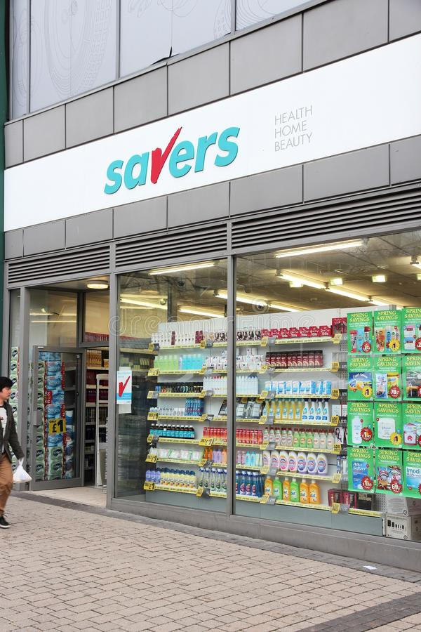 Savers UK. BIRMINGHAM, UK - APRIL 24, 2013: Savers health, beauty and fragrance product store in Birmingham, UK. Savers has 340 discount stores in the UK stock photos