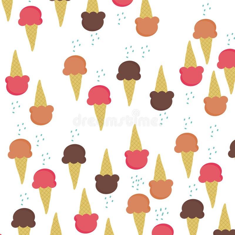 Saveur de trois cornets de crème glacée sur le vecteur blanc de fond illustration libre de droits
