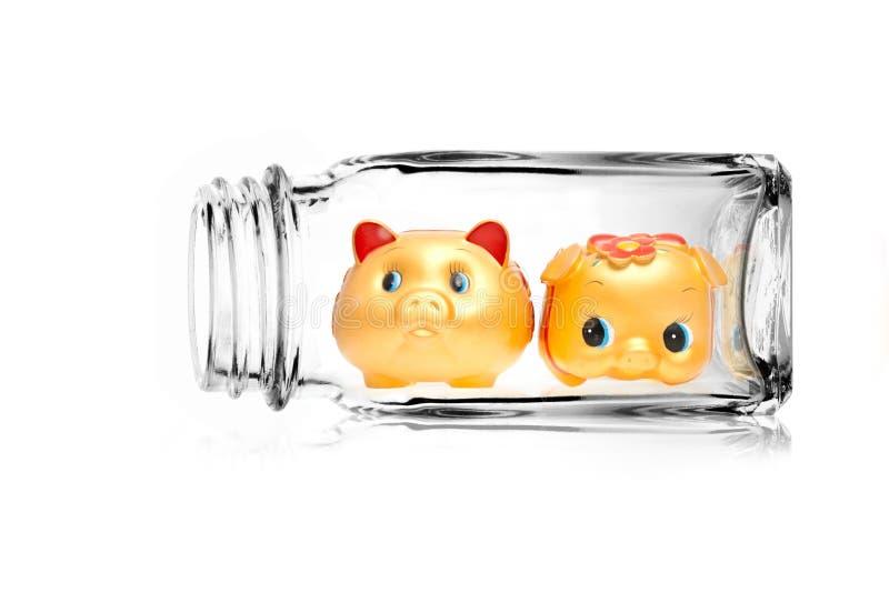 Saving bank. Concept image, double save for security of saving bank stock image