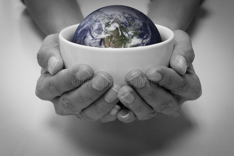 Saving earth and people care stock image