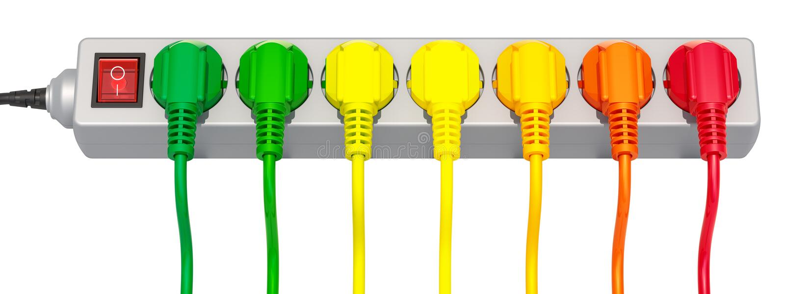 Saving energy consumption concept, row from colored plugs. 3d re. Saving energy consumption concept, row from colored plugs 3d rendering isolated on white vector illustration