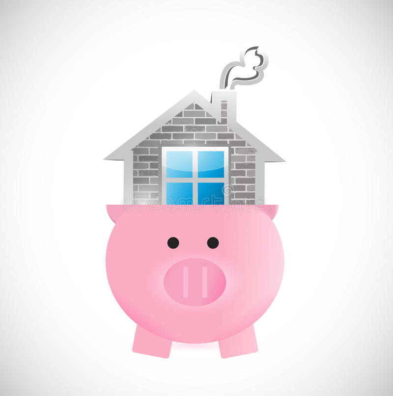 Saving for a home. piggy and house illustration stock illustration