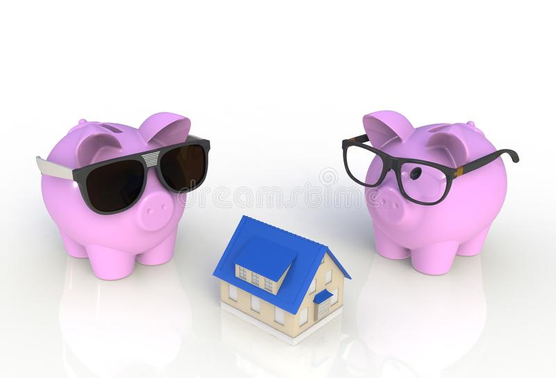 Saving for a house. Piggy bank with house isolated on white background. 3D rendering royalty free stock photos