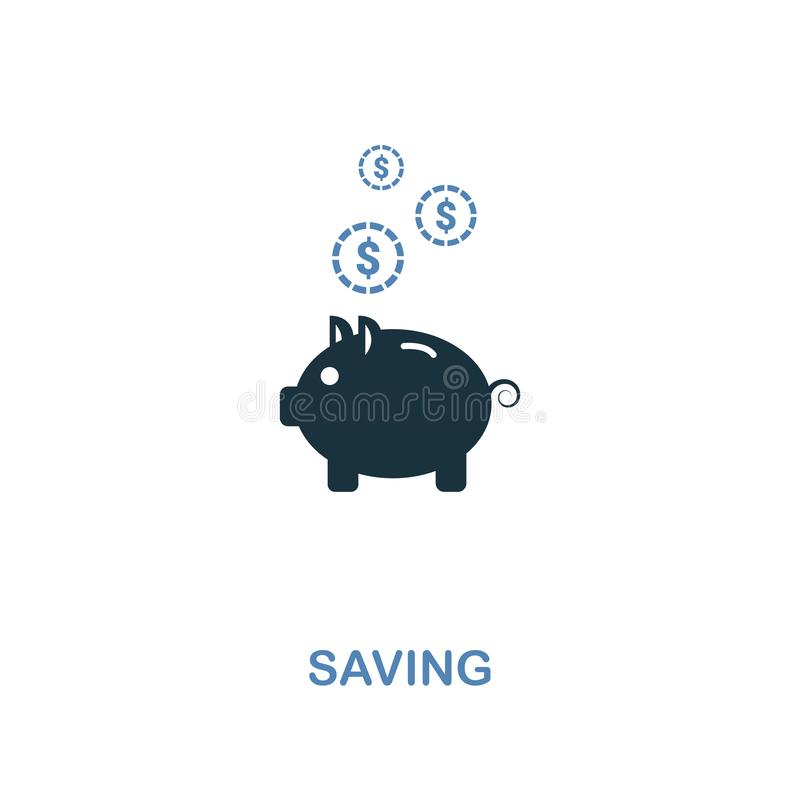 Saving icon in two colors design. Pixel perfect symbols from personal finance icon collection. UI and UX. Illustration of saving i. Saving creative icon in two vector illustration