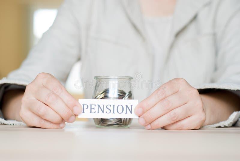 Saving. Jar saved for pension stock image