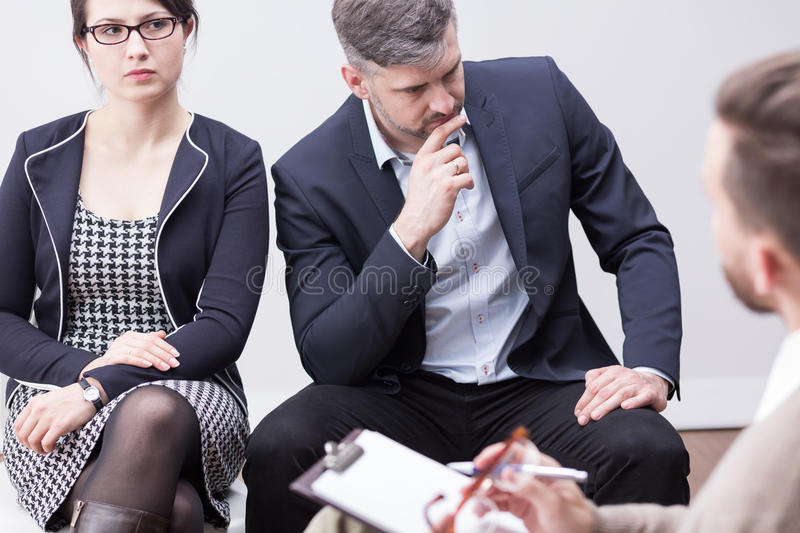 Saving marriage on therapy session royalty free stock photo