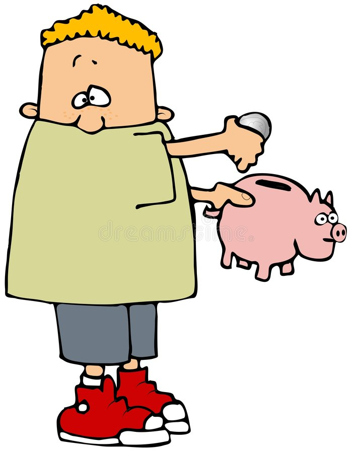 Saving Money. This illustration depicts a boy putting a coin into a piggy bank