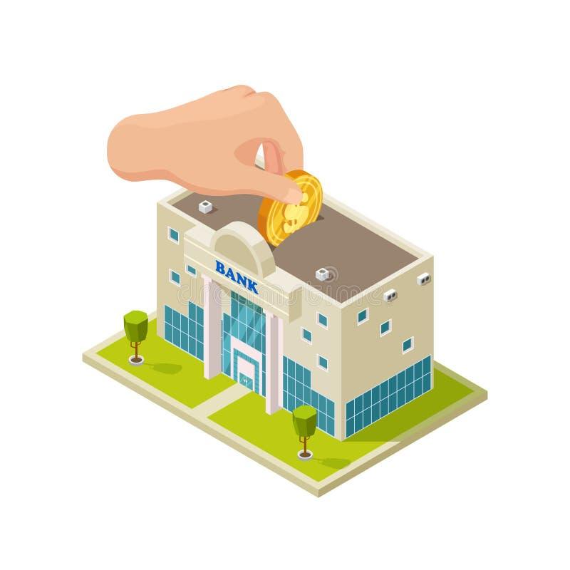 Saving money in bank isometric vector concept stock illustration