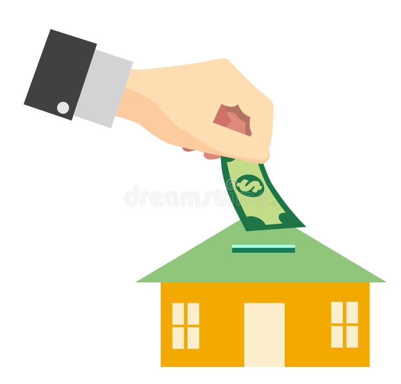 Saving Money For Buy Home Concept Vector Design. Stock