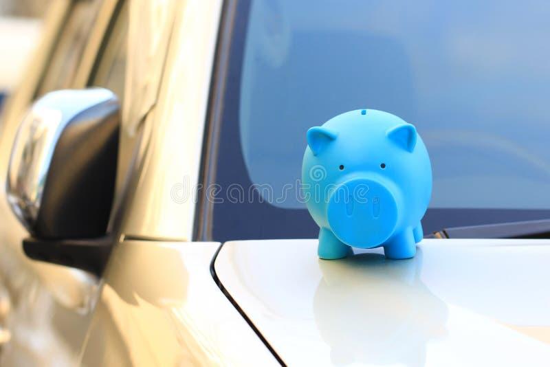 Saving money for car concept, Blue piggy standing on the car, Auto business.  stock photo