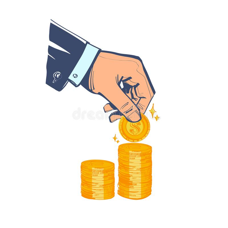Saving money. Coin in hand. Finance growth. Vector illustration sketch cartoon style. royalty free illustration
