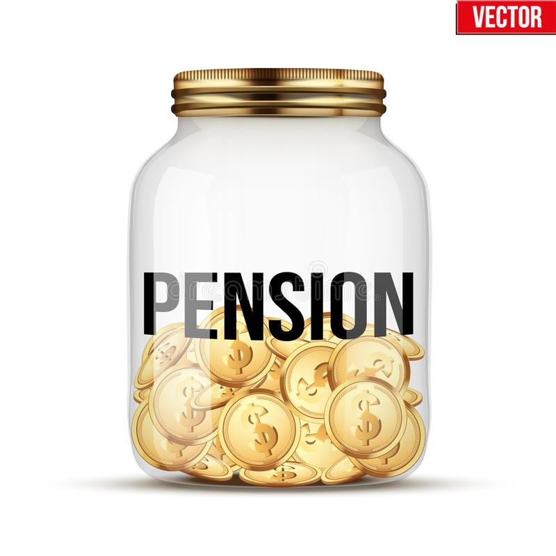 Free Saving Money Coin In Jar With Pension Label Royalty Free Stock Image - 100324856