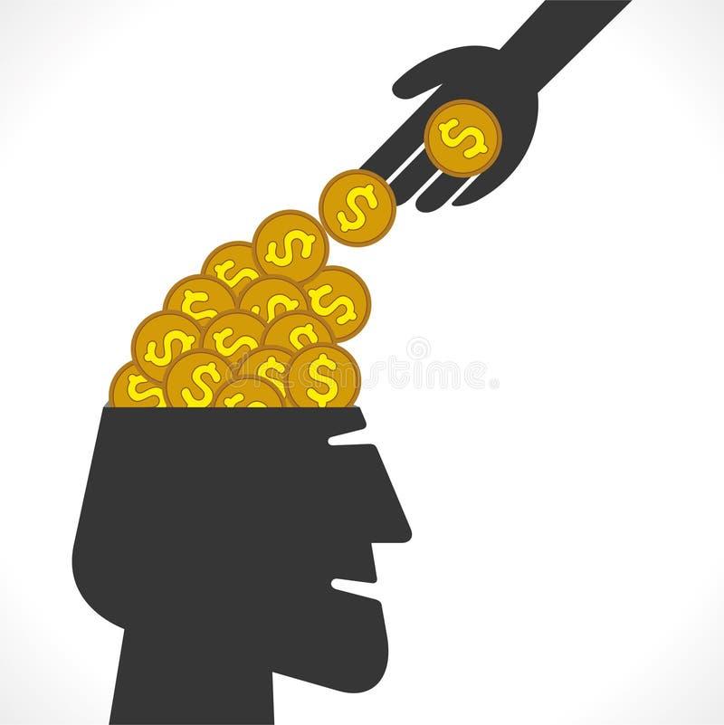 Saving money concept. Putting or drop dollar coin in head or saving money concept vector illustration