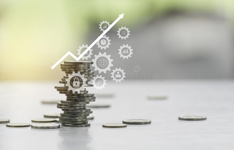 Saving money concept with money coin stack. Stack of coins with copy space for business and accounting concept stock photos