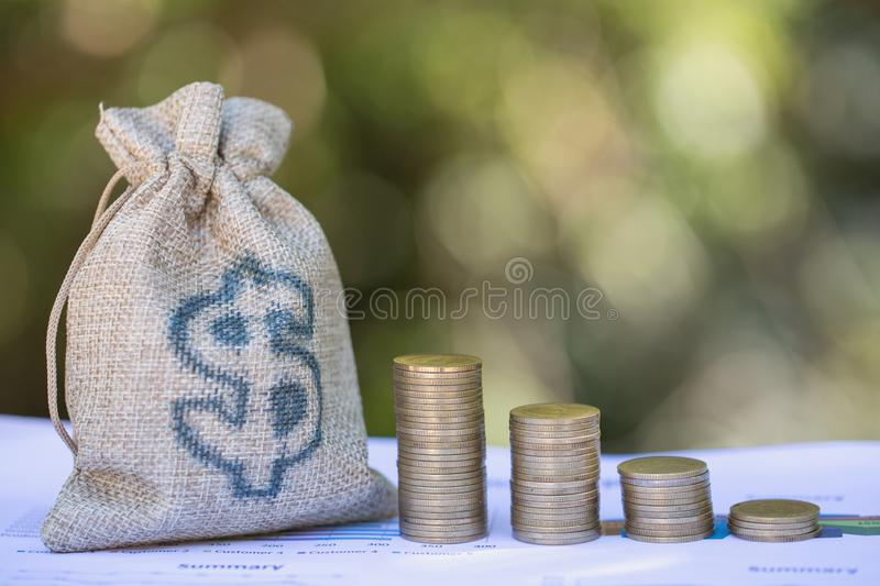Saving money concept, coin stack growing business, save money for investment.  royalty free stock photo