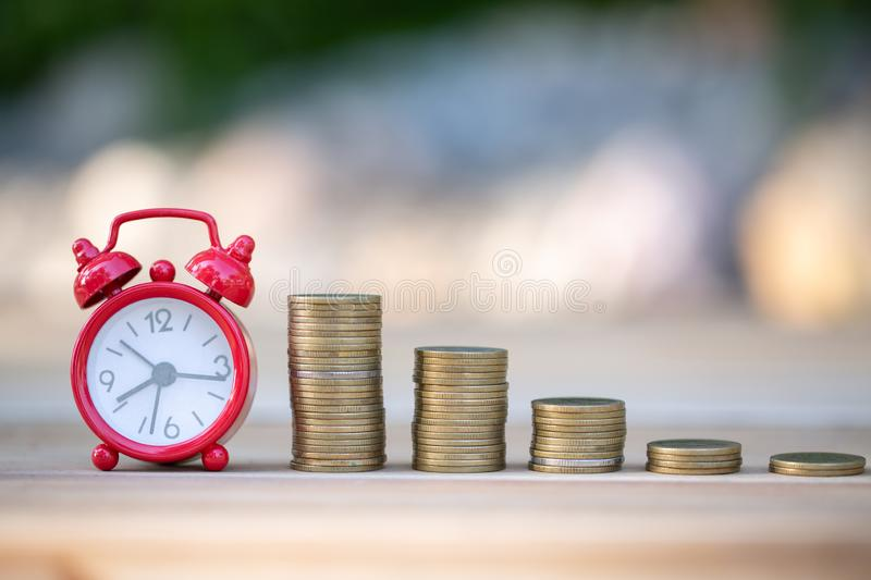 Saving money concept, coin stack growing business, save money for investment.  stock image