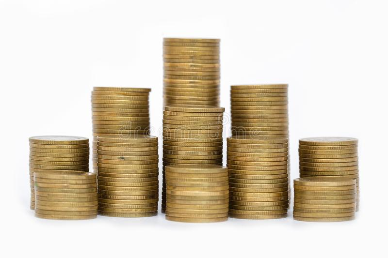 Saving money concept, coin stack growing business, save money for investment. White background.  royalty free stock photo