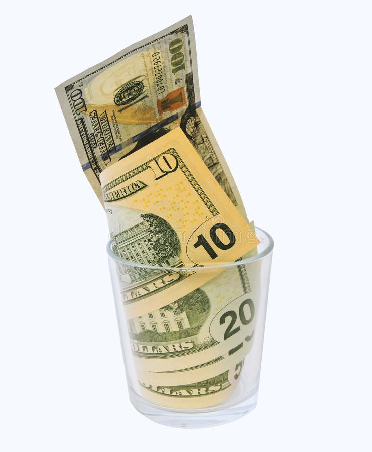 Saving money concept.Glass jars with dollars and text: SAVE.Coins in glass jar for money saving financial concept - USA dollar. American dollars on white stock photo