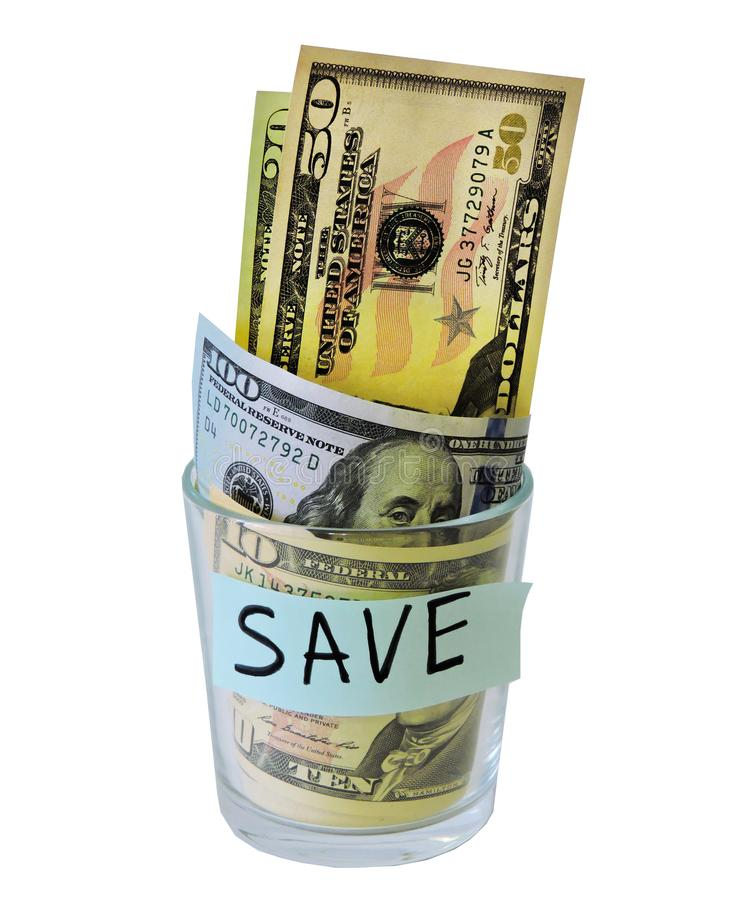 Saving money concept.Glass jars with dollars and text: SAVE.Coins in glass jar for money saving financial concept - USA dollar. American dollars on white stock images