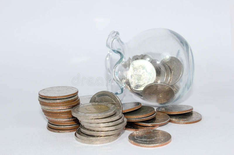 Saving money. A current medium of exchange in the form of coins and banknotes; coins and banknotes collectively stock image