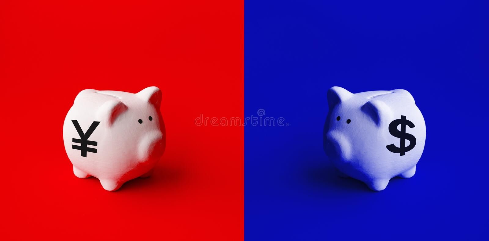 Saving money or financial investment concepts with piggy bank and dollar,yuan icon sign.business economic. Ideas stock photo