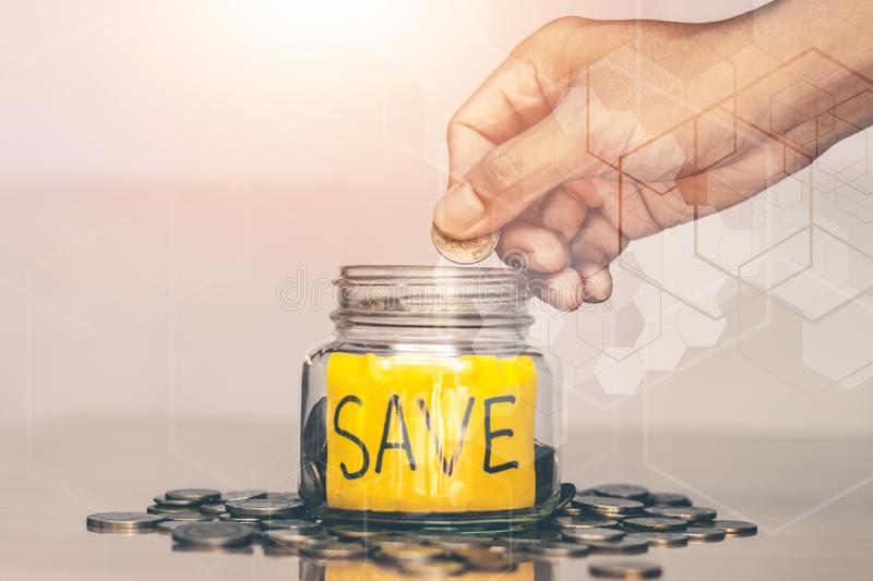 Saving money for future use. Saving money for future use, sustainability concept royalty free stock images
