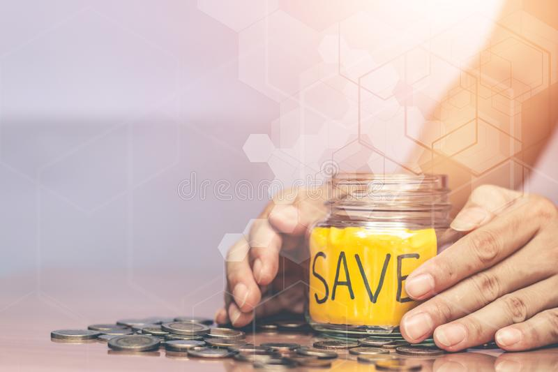 Saving money for future use. Saving money for future use, sustainability concept stock images