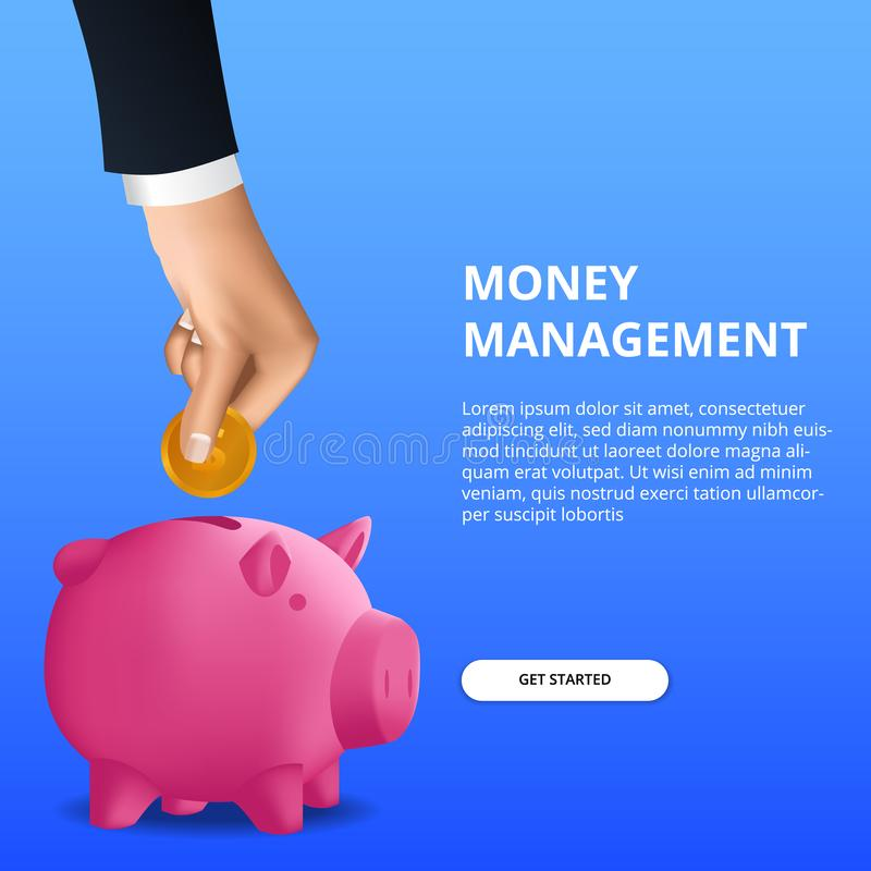 Saving money investment for budgeting management financial with hand put gold coin in to piggy bank vector illustration