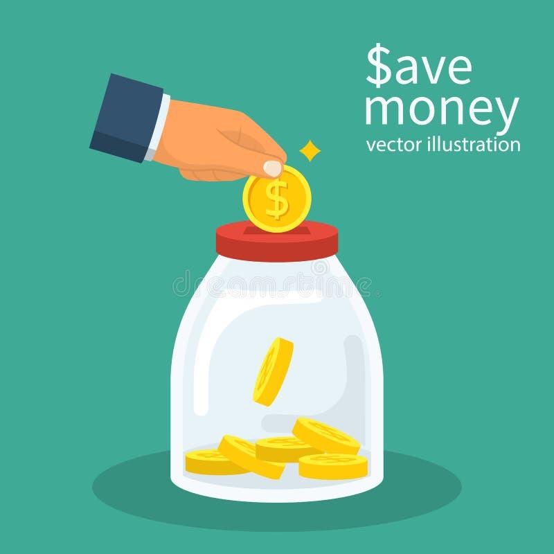 Saving money man hand royalty free illustration