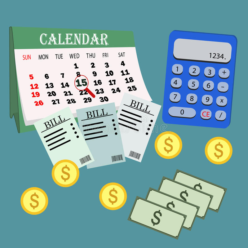 Saving money for paying bills. Business, finance and investment concept. Vector illustration. Calendar. Payment. Pay.Calculator. stock illustration