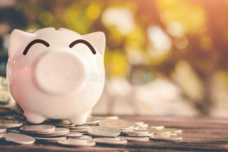 Saving money in pig bank for future use, Concept saving money for the future.  royalty free stock photo