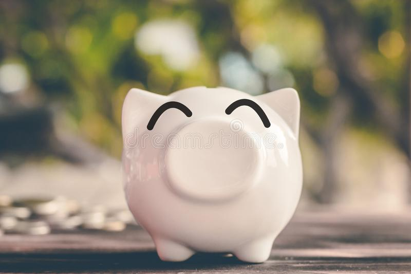 Saving money in pig bank for future use, Concept saving money for the future.  stock photo