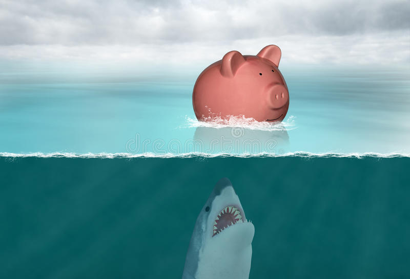 Saving Money, Savings, Retirement, Finances. Abstract concept for saving money, savings, retirement, nest egg, and finances. A piggy bank is lost in the sea or stock photo