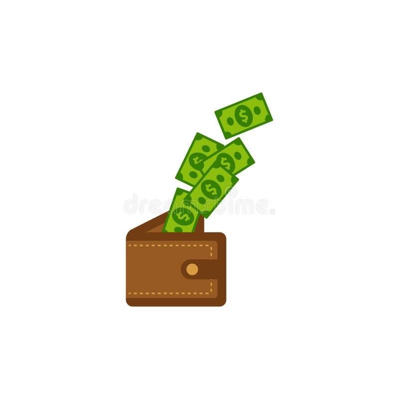 Saving money in to wallet vector icon illustration. earn money icon symbol design royalty free illustration