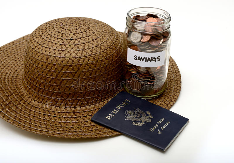 Saving money for a vacation. Saving money for international traveling or vacation stock photography