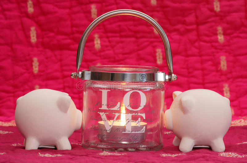Saving money on valentines day royalty free stock photos