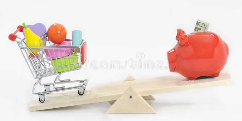 Saving and overspending concept stock images