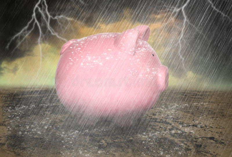 Saving, Save Money Rainy Day. A saving piggy bank is in a rain storm with lightning. Save money for a rainy day! Concept good for IRA funds, debt, retirement royalty free stock photo