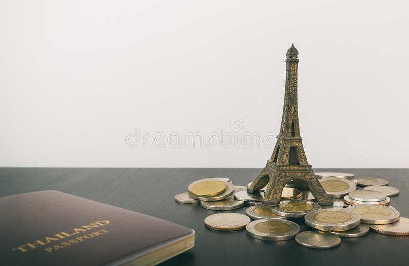 Saving travel money for Paris Vacation. Copy space royalty free stock photos