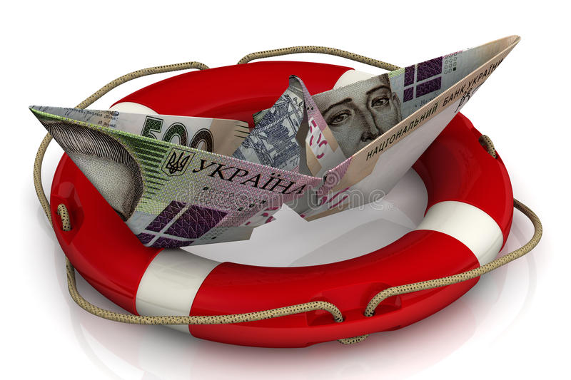 Saving the Ukrainian economy. Torn paper boat made from an Ukrainian banknote hryvnia in the lifebuoy on a white surface. Isolated. 3D Illustration royalty free illustration