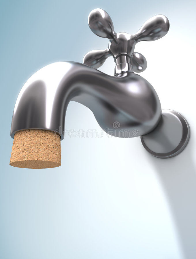 Saving Water. Concept of saving water. The cork ensures that the water does not leak