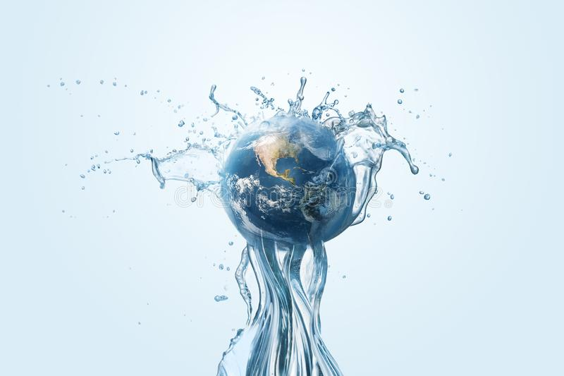 Saving water and world environmental protection concept. Eearth, globe, ecology, nature, planet concepts royalty free stock image